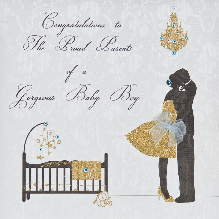 Congratulations Proud Parents Baby Boy Handmade Greeting Card