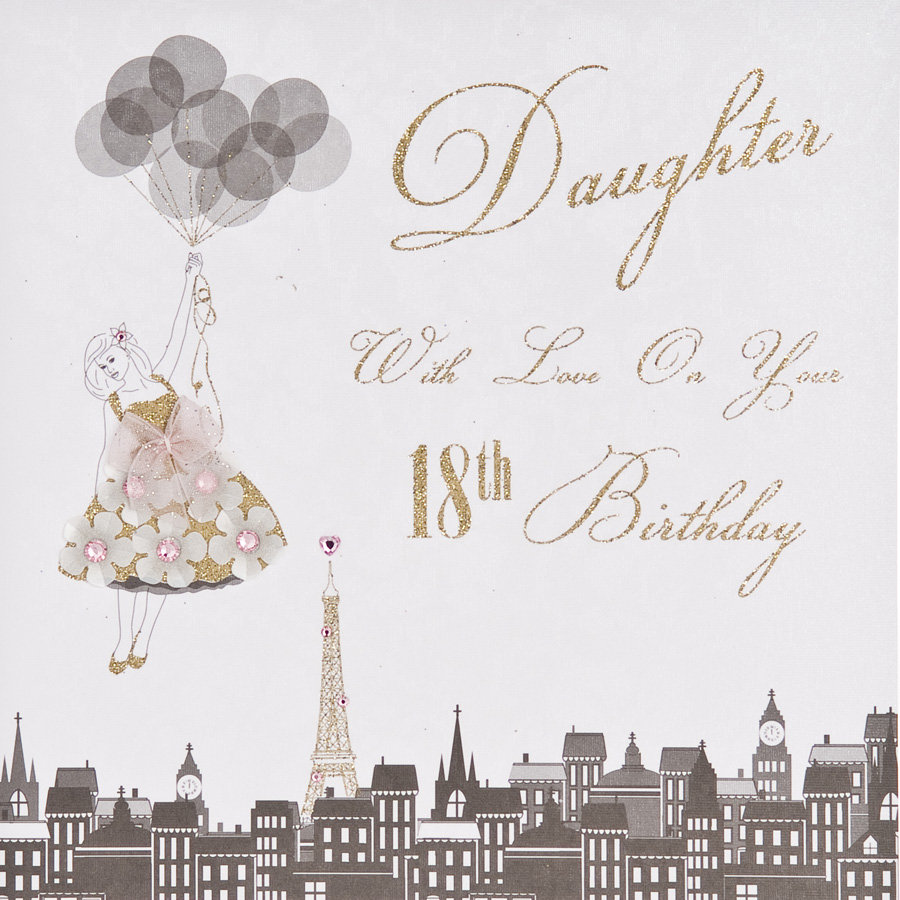 18th Daughter Handmade Birthday Card ET29 Tilt Art – Birthday Daughter Card