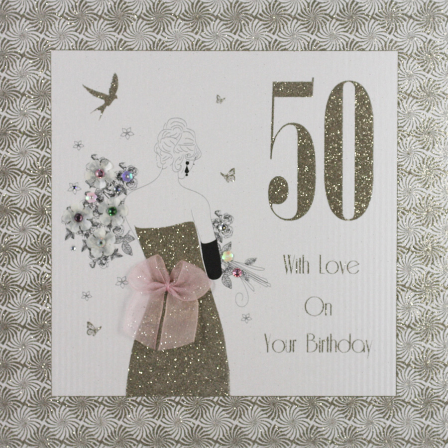 With Love On Your Birthday Large Handmade 50th Card GA7