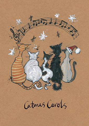 Catmas carols sam toft open christmas card xst1421 tilt art m4hsunfo