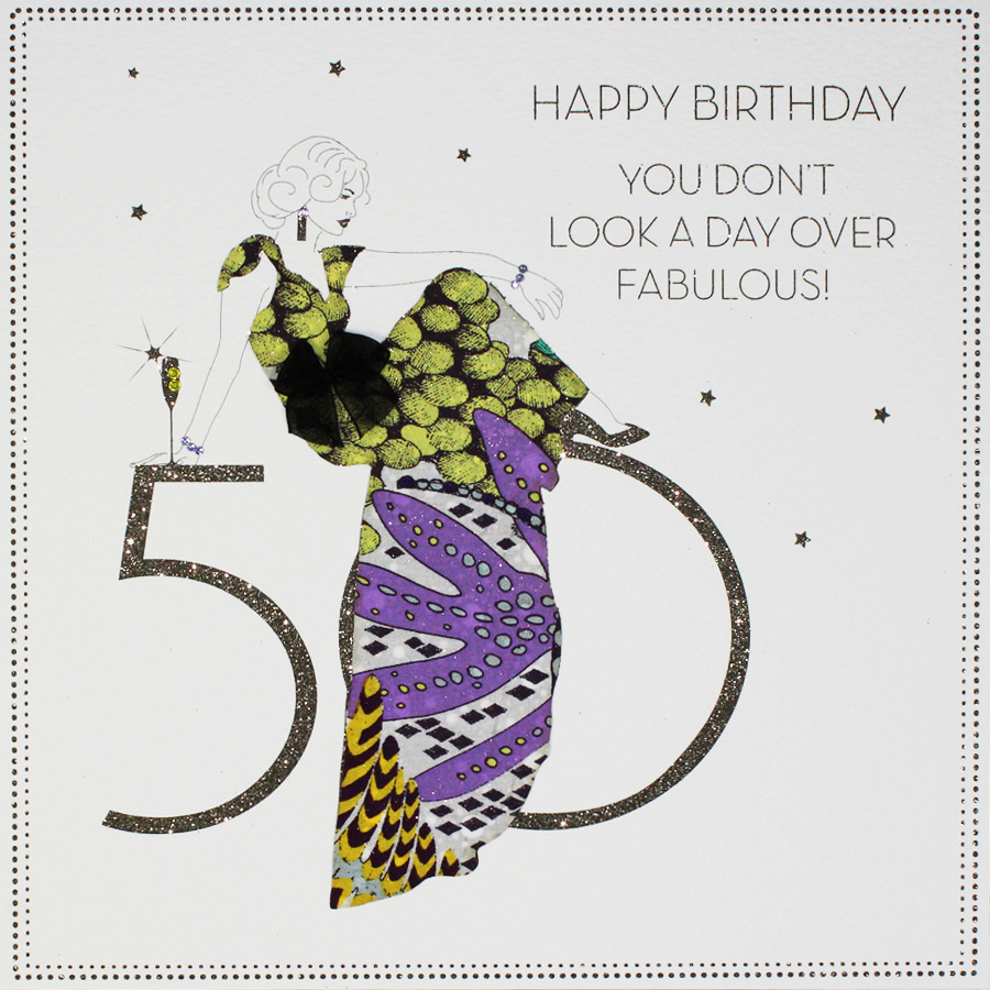 Large Handmade 50th Birthday Card BLY8 Sale