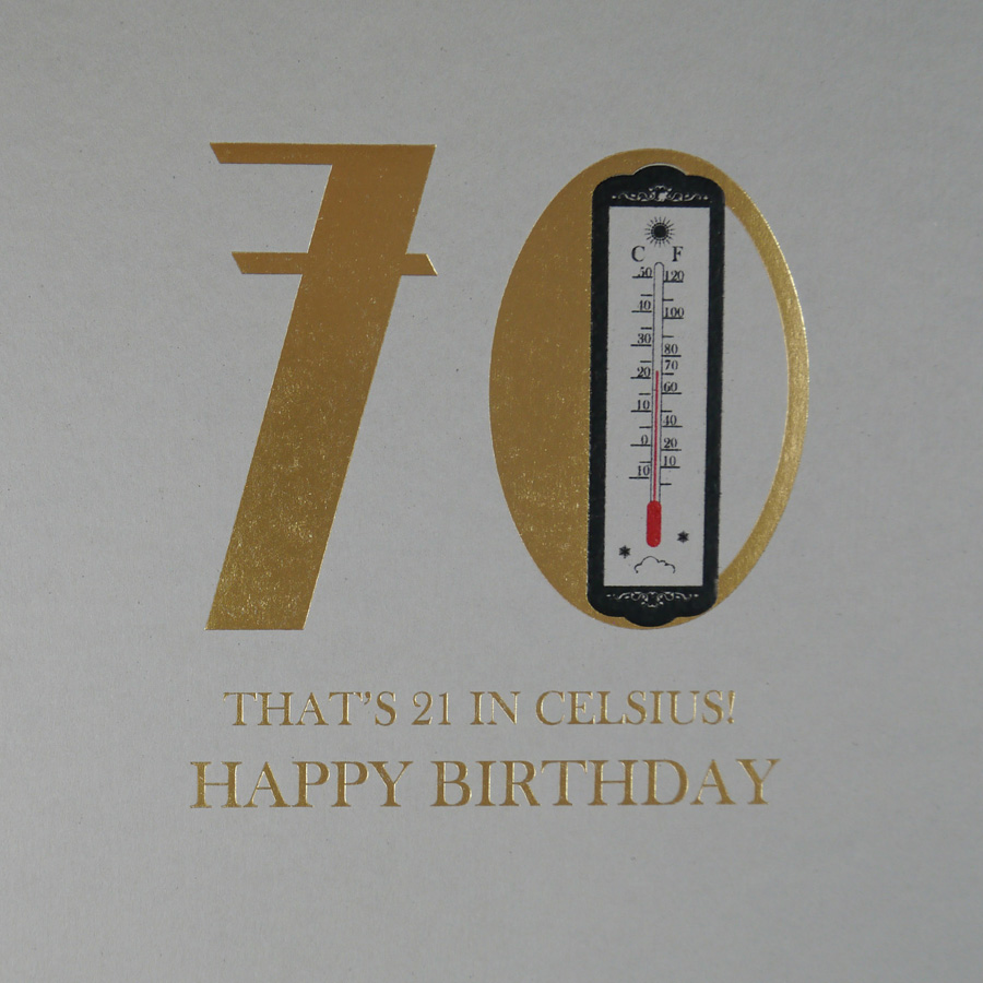 70th Thats 21 In Celsuis Quality Birthday Card MN26