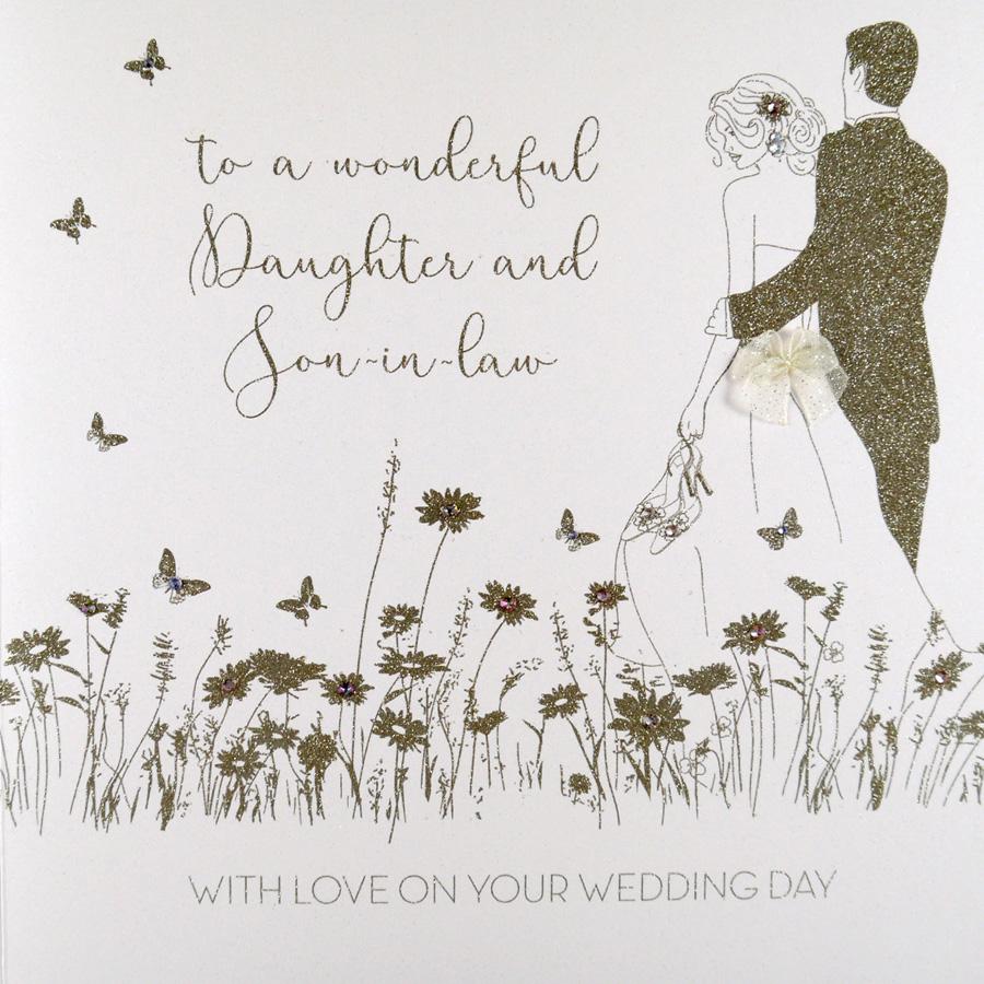 Wonderful Daughter Son In Law Large Handmade Wedding Card Rad22 Tilt Art
