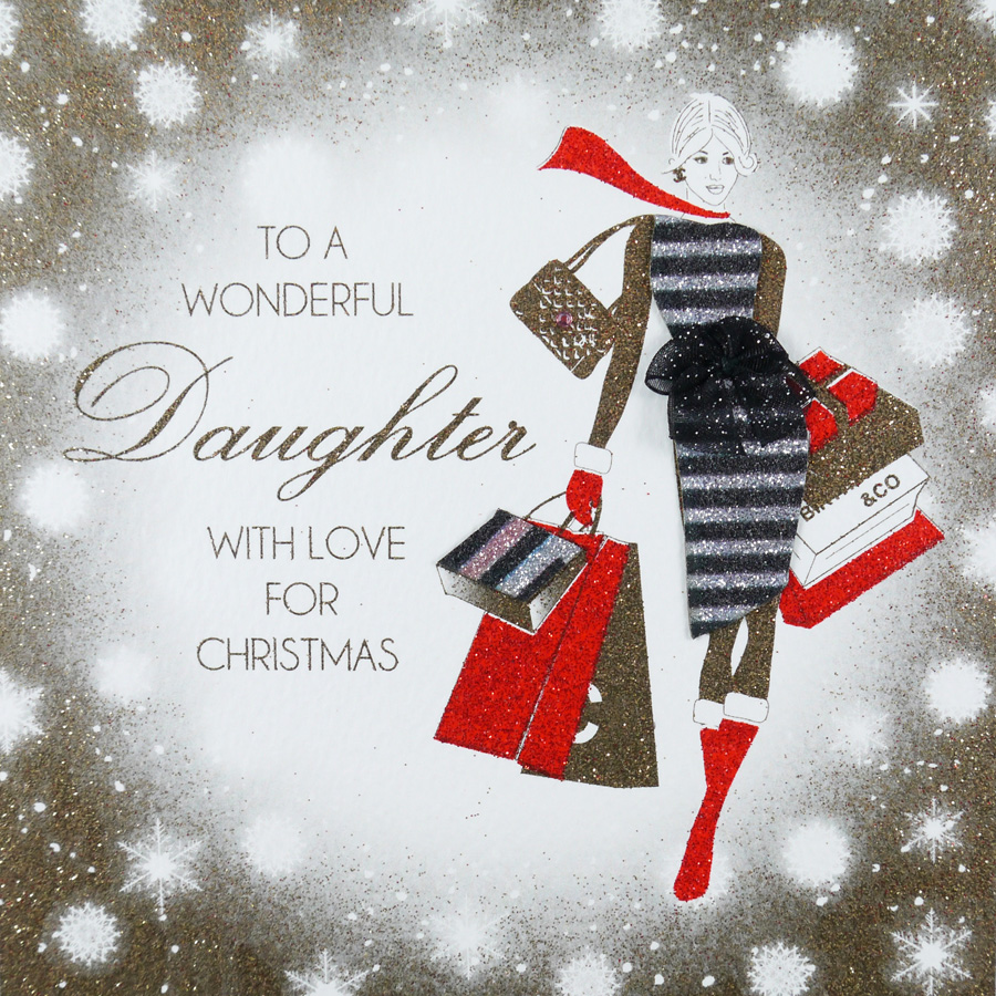 Handmade Christmas Card Images.To A Wonderful Daughter Handmade Christmas Card Acv13