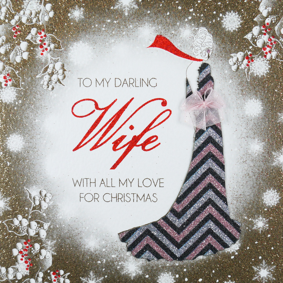 Handmade Christmas Card Images.To My Darling Wife Handmade Christmas Card Acv16