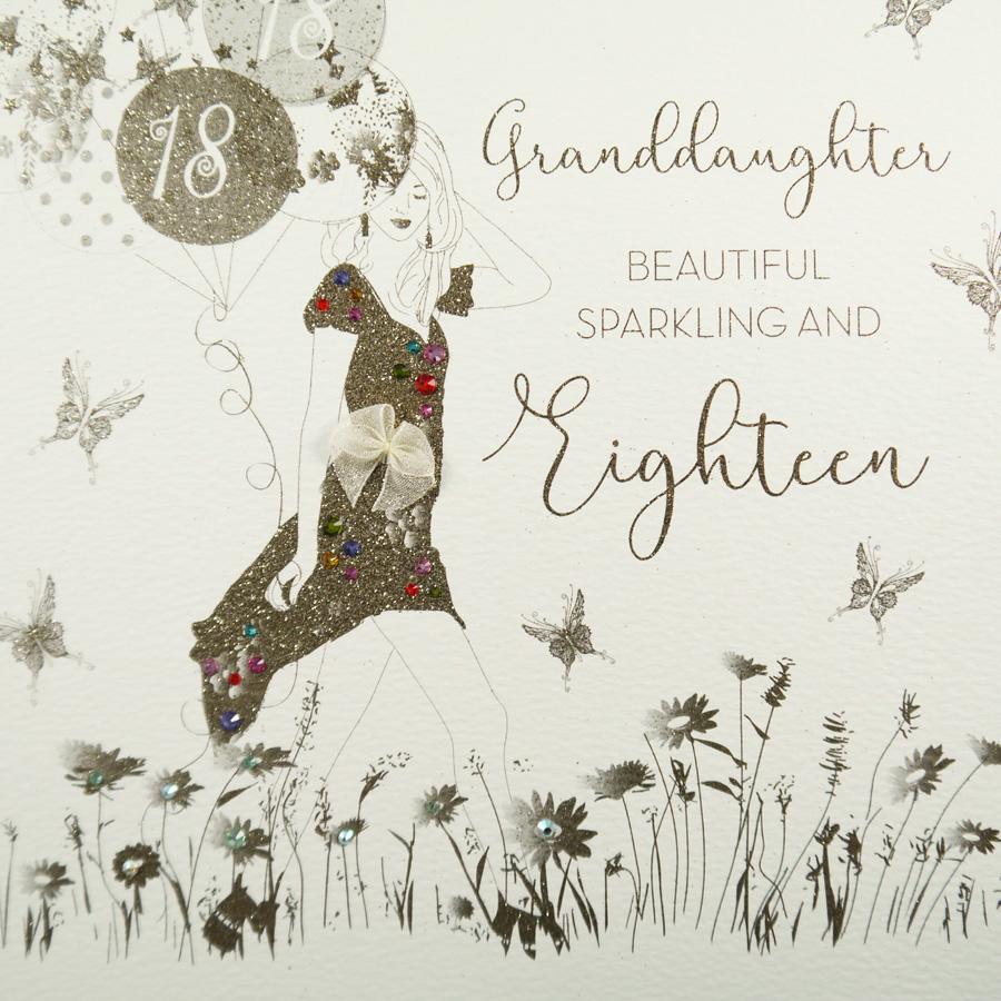 Granddaughter Beautiful Sparkling Eighteen Large Handmade Birthday Card GSL1