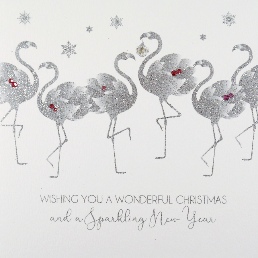 Flamingo Christmas Cards.Wishing You A Wonderful Christmas Handmade Open Christmas Card Ic11