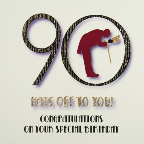 Hats Off To You Quality 90th Birthday Card MRF13