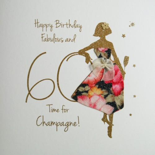 Fabulous And 60 Time For Champagne Handmade Birthday Card NE34